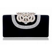 Afibi Suede Clutch Purses for Women Rhinestone Crystal Clutch Bag - Hand bag - $24.59