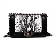 Ainifeel Genuine Leather Snakeskin Embossed Shoulder Handbag Crossbody Bag With Chain Strap - Hand bag - $445.00