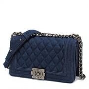 Ainifeel Quilted Chain Strap Fabric Shoulder Handbag Cross Body Bag - Hand bag - $399.00