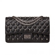 Ainifeel Women's Genuine Leather Quilted Studded Shoulder Bag Chain Strap Crossbody Purse - Hand bag - $405.00
