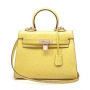 Ainifeel Women's Padlock Purse Ostrich Embossed Genuine Leather Shoulder Handbag Hobo Bag - Hand bag - $415.00