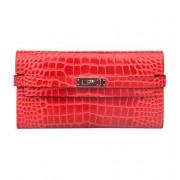 Ainifeel Women's Patent Leather Crocodile Embossed Padlock Wallet Billfold - Hand bag - $315.00
