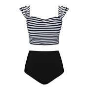 Aixy Women Vintage Floral Stripe Padding Crop Bikini Top High Waisted Swimsuit - Swimsuit - $29.99