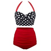 Aixy Women Vintage Swimsuits Bikinis Bathing Suits Retro Halter Underwired Top - Swimsuit - $39.99