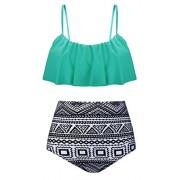 Aixy Women's Cute Ruffles Strap Swimsuit Crop Top Flounce Bikini Set - Swimsuit - $35.99