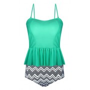 Aixy Women's Vintage High Waisted Ruffles Strap Tankini Two Piece Swimsuit - Swimsuit - $39.99