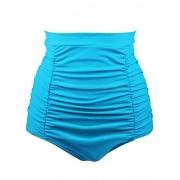 Aleumdr Women Retro High Waisted Bikini Bottom Ruched Swim Short Tankinis - Swimsuit - $9.99