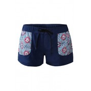 Aleumdr Womens Color Block Printed Ties Wide Waistband Swim Board Shorts With Pockets - Swimsuit - $10.99