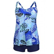 Aleumdr Womens Ruched Floral Printed Blouson Tankini Swimsuits With Swim Shorts S - XXL - Swimsuit - $15.99
