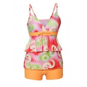 Aleumdr Womens Ruffle V Neck Printed Open Back Tankini Top Swimsuit with Swim Shorts - Swimsuit - $15.99