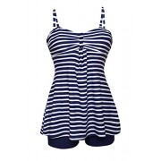 Aleumdr Womens Sailor Spaghetti Straps Striped Tankini Swimsuits With Swim Shorts S - XXL - Swimsuit - $19.99