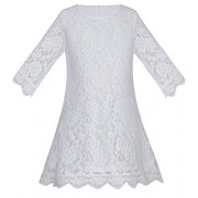 A-line Causal Lace Flower Girl Wedding Party Dress 3/4 Sleeves K0251 - Dresses - $29.99