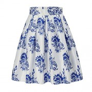 Alistyle Womens Vintage Skirts Floral Print Pleated A-line Flared Midi Dresses with Pockets - Skirts - $49.99
