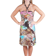 Alki'i Beaded Y-neck Casual Beach Evening Party Sun Dress - Leopard Paisley Blue - Dresses - $29.99