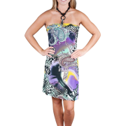 Alki'i Beaded Y-neck Casual Beach Evening Party Sun Dress - Leopard Paisley Purple - Dresses - $29.99