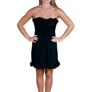 Alki'i Strapless Ruffled Casual Evening Party Cocktail Dress Black - Vestidos - $39.99  ~ 34.35€