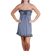 Alki'i Strapless Ruffled Casual Evening Party Cocktail Dress Charcoal - Dresses - $39.99