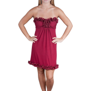 Alki'i Strapless Ruffled Casual Evening Party Cocktail Dress Merlot - Dresses - $39.99