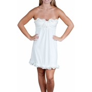Alki'i Strapless Ruffled Casual Evening Party Cocktail Dress OffWhite - Vestidos - $39.99  ~ 34.35€