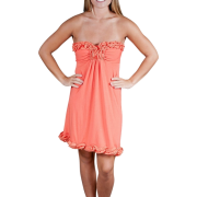 Alki'i Strapless Ruffled Casual Evening Party Cocktail Dress Orange - Vestidos - $39.99  ~ 34.35€