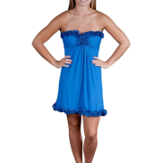 Alki'i Strapless Ruffled Casual Evening Party Cocktail Dress Royal - Dresses - $39.99
