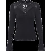 All-match T-shirt female trumpet long-sleeved dark sexy perspective mesh stitchi - Košulje - kratke - $25.99  ~ 165,10kn