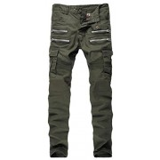 Allonly Men's Army Green Stylish Casual Skinny Fit Stretch Straight Leg Patchwork Jeans Pencil Pants with Zippers - Pants - $44.99