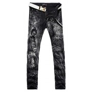 Allonly Men's Black Stylish Casual Slim Fit Stretch Straight Leg Leopard Printed Jeans Pants - Pants - $43.99