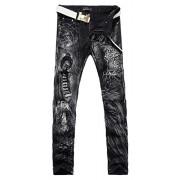 Allonly Men's Black Stylish Casual Slim Fit Stretch Straight Leg Leopard Printed Jeans Pants - Hlače - duge - $43.99  ~ 37.78€