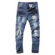 Allonly Men's Blue Fashion Slim Fit Straight Leg Jeans Pants with Broken Holes and Many Pockets - Pants - $40.99