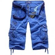 Allonly Men's Cargo Durable Cotton Loose Fit Multi Pocket Cargo Shorts Capri Pants - Shorts - $33.99