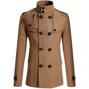 Allonly Men's Classic Double Breasted Wool Blend Lapel Stand Collar Pea Coat - Outerwear - $55.61