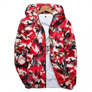 Allonly Men's Fashion Butterfly Printed Camouflage Long Sleeves Zip-up Hoodie Windbreaker Jacket - Outerwear - $23.66