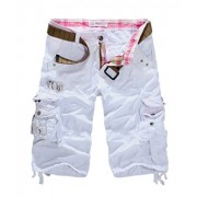 Allonly Men's Fashion Casual Cotton Relaxed Fit Multi-Pocket Cargo Shorts Under Knee - ショートパンツ - $29.99  ~ ¥3,375