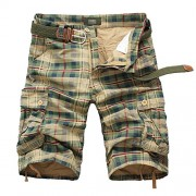 Allonly Men's Fashion Casual Cotton Relaxed Fit Multi-Pocket Plaid Cargo Shorts Knee Length - ショートパンツ - $19.99  ~ ¥2,250
