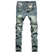 Allonly Men's Fashion Casual Destroyed Regular Fit Straight Leg Ripped Jeans Pants with Broken Holes - Pants - $29.99