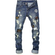 Allonly Men's Fashion Casual Slim Fit Straight Leg Embroidered Jeans Pants with Broken Holes and Badges - パンツ - $35.99  ~ ¥4,051