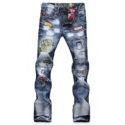 Allonly Men's Fashion Casual Slim Fit Straight Leg Jeans Pants with Broken Holes - Pants - $38.99