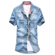 Allonly Men's Fashion Ripped Hole Short Sleeves Denim Button Down Shirt Casual Tshirt - 半袖シャツ・ブラウス - $19.01  ~ ¥2,140