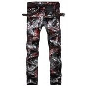 Allonly Men's Stylish Casual Print Skinny Fit Straight Leg Club Jeans Pants - Pants - $36.99