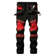 Allonly Men's Stylish Straight Leg Slim Fit Stretch Patchwork Biker Jeans Pants with Zippers - パンツ - $32.99  ~ ¥3,713