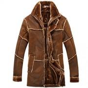 Allonly Men's Vintage Sheepskin Jacket Fur Leather Jacket Cashmere Shearling Coat - Outerwear - $95.00