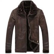 Allonly Men's Vintage Sheepskin Jacket Fur Leather Jacket Cashmere Shearling Coat - Outerwear - $85.89