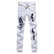 Allonly Men's White Stylish Print Slim Fit Straight Leg Stretch Jeans Pants - Pants - $29.99