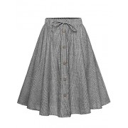 Allonly Women's A-Line High Waisted Button Front Drawstring Pleated Midi Skirt with Elastic Waist Knee Length - Skirts - $13.93