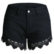 Allonly Women's Black Sexy Relaxed Fit Denim Shorts with Lace Trim Jean Shorts Hot Pants - ショートパンツ - $18.99  ~ ¥2,137
