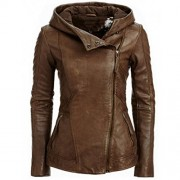 Allonly Women's Brown PU Bomber Zip Up Moto Biker Faux Leather Jacket - Outerwear - $51.50