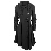 Allonly Women's Button Closure Asymmetrical Hem Long Trench Black Cloak Coat - Outerwear - $39.90