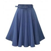 Allonly Women's Denim A-Line Elastic Waist Pleated Midi Skirt Knee Length with Belt - Skirts - $12.29