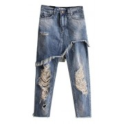 Allonly Women's Destroyed Fashion Relaxed Fit Ripped Jeans Harem Pants with Broken Holes False Two Pieces - Hlače - duge - $36.99  ~ 31.77€